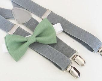Sage green bow-tie & Gray elastic suspender set, Adjustable neck strap and suspender, suspender and bow tie