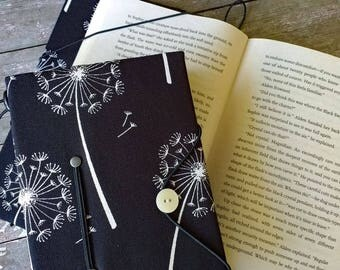 Small book cover, hands free reading book holder, dandelion print, book lover, bibliophile, reader, commuter gift, arthritis aid