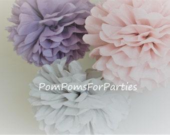 3 MEDIUM Size Tissue Pom Poms - Ash pink/Ash lilac/Pale gray - Smokey shades - Tissue paper balls - Tissue paper pom poms DIY decorations