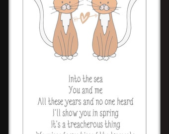 The Cure Unframed Lovecats Lyrics Print Perfect for Child's Bedroom