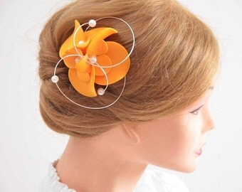 Orange fascinator Bridesmaid headpiece Hair flower Bridesmaid fascinator Wedding hair accessories Bridal hair piece