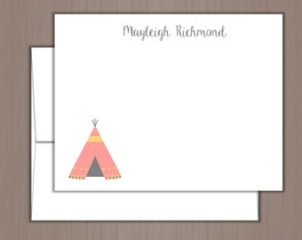 Personalized Note Card Set, Flat Note Cards, Personalized Stationery, Personalized Stationary, Thank you Notes, Teepee Note Cards, Tribal