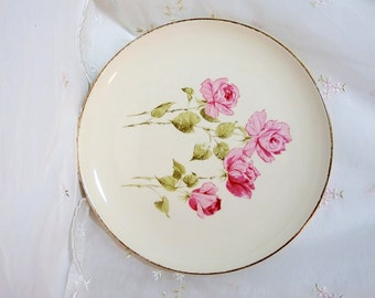 Vintage 1950s TST140 Dinner Plate by Taylor, Smith & Taylor, Pink/Red Roses on White, Accented with Gold Rim
