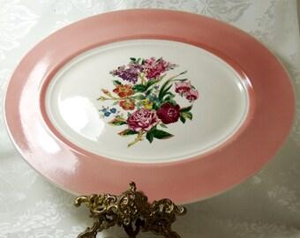 Serving Platter, Coburg by American Limoges, Floral Center Cotillion Pink Rim