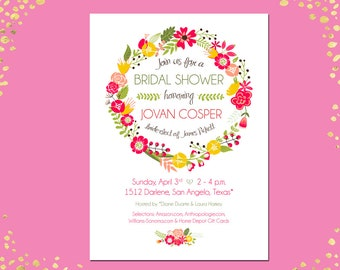 Qty. 25+ Bridal Shower Invitation Floral Bridal Shower Invitation Spring Summer Bridal Shower Invitation