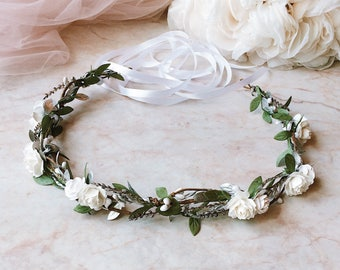 Greenery and white roses floral crown White and green and silver headband Green leaf Crown Bridal headband Green leaf and white headband