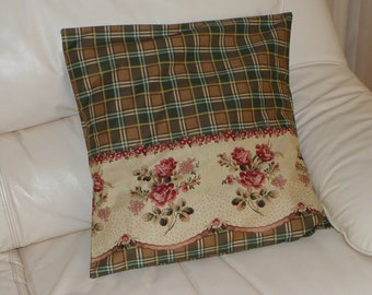 Burgundy Roses on Beige with Brown Plaid Cushion Cover(2) Handmade by Bronwyn Free Post