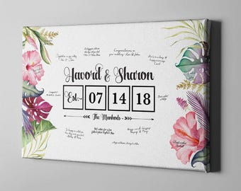 SALE 50% Off Canvas Guest Book, Summer Tropical Floral Signature GuestBook, Hibiscus Flowers Hawaii Wedding, Bridal Shower Gifts - CGB79