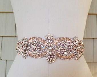 SALE - Wedding Belt, Bridal Belt, Sash Belt, Crystal Rhinestone with Rose Gold Details- Style B21177RG