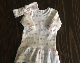 Personalized Long Sleeve Ruffle Dress and Top Knot Headband in Organic Cotton - Customize Just For You