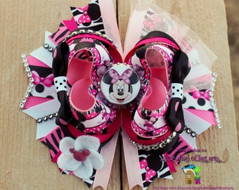 Minnie Mouse inspired by Disney deluxe boutique hair bow ready to ship