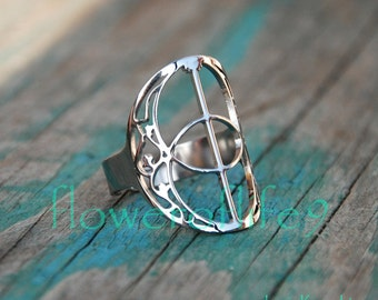 Vesica Pisces ring - Stainless Steel