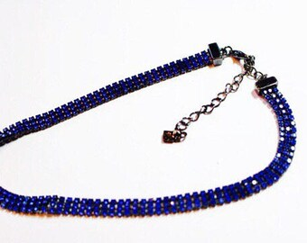 Givency Signed Electric Blue Rhinestones Designer Fashion Necklace