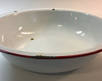 Vintage Rustic Enamel Wash Basin Bowl with Red Rim and Hole for Hanging