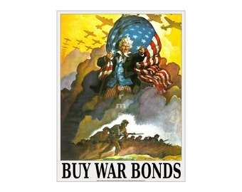 Angry Uncle Sam - Vintage WWII War Bonds Poster (505515139)