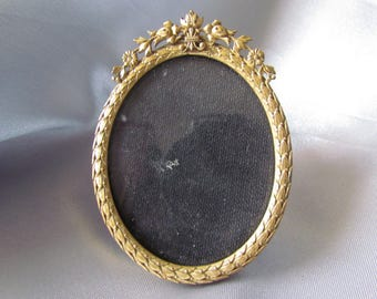 Reserved for Stephanie, Antique French Small Photo Frame, Bronze, Brass, Garland of flowers ,Louis XV Style