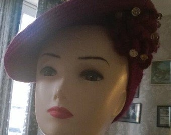 1940s hat, tilt, RARE Magenta needlepoint hat , 40s tambourine hat intricate embellishment and lucite buttons