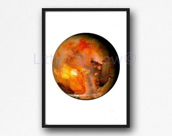 Planet Mars Print Watercolor Planet Solar System Space Art Print Wall Art Astronomy Science Gift Wall Decor Unframed