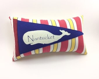 Nantucket Whale Vintage Inspired Pennant Pillow 12 inches