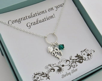 Graduation Gift for Her, 2017 Graduation Necklace, sterling silver heart necklace, graduation gift, Retirement gift for women, 2017 jewelry