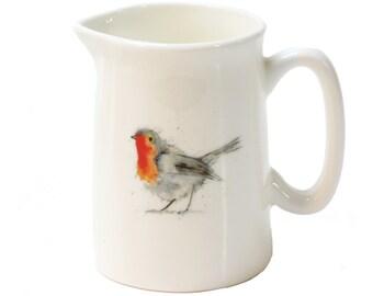 Mini Jug - Robin - Fine bone china, 142ml, Country Kitchen, Pitcher, Woodland