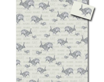 Hare Wrapping Paper - Easter Wrapping Paper, Animal Gift, Hare Gift - Animal Gift Wrap with Tag
