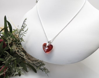 Swarovski Heart Pendant Necklace, Crystal Heart In Sterling Silver, 15-22 Inches Length, Truly in Love Heart pendant, Swarovski Red Magma