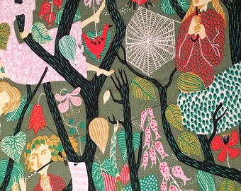 Reserved for Tiffany///Swedish 50s fabric Stig Lindberg handprinted Melodi green decorative vintage fabric high quality linen midcentury mod