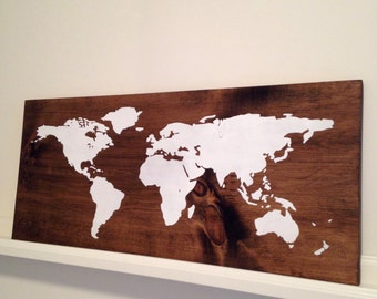 World Map Sign, Map Sign, Wooden Sign, World Map Wall Art, World Map Wooden Sign, Travel Sign, Wall Decor, Nursery Decor, Nursery Sign