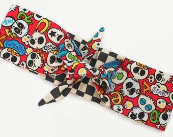adult punk skull and cross bones headband - rockabilly nu goth harajuku psychobilly teen hair accessory bow head wrap  dolly bow elastic