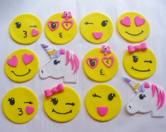 12 JUSTICE EMOJI Edible Fondant Cupcake Toppers Girly Girl Birthday
