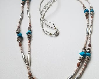 Vintage Double Native American Necklace, Liquid Silver Necklace, Southwestern Necklace, Heish & Turquoise  Necklace, Long And Beautiful