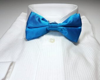 Turquoise Blue Silk Bow Tie with Gift Box