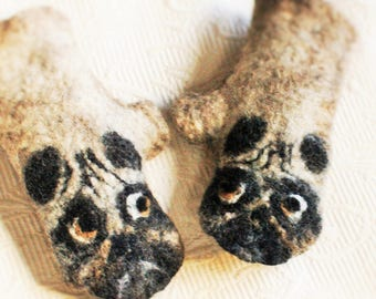 Pug Dog Felted Fingerless Gloves Pug gifts Pug  Hand Warmer Mittens  Pug fingerless mittens Eco friendly Raw Norwegian wool