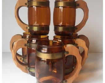 Vintage Brown Beer Mugs, Siesta Ware Beer Steins with Wood Handles, Beer Steins, Vintage Drinkware, Barware, Set of Seven Beer Mugs