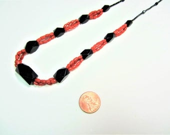 Vintage black glass and coral beads necklace