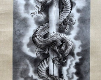 Dragon Art, Fantasy Dragon, Painting, Original Handmade Scroll, Japanese Artwork, Dragon, Buddhist Symbol, Kurikara, Fudo Myo