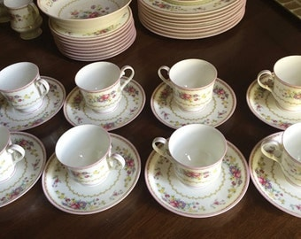 Mikasa Cups and Saucers, Set of 4 Cheshire Cups and Saucers, Pink Floral Pattern, 2 Sets Available, Each Sold Separately, Garden Tea Party
