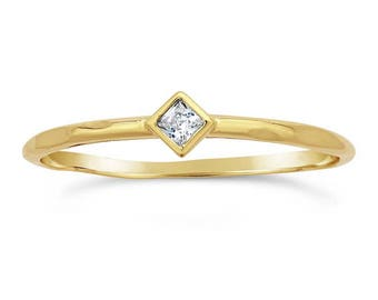 14K Gold Ring - White Topaz - Princess Cut Faceted Stone - Promise Ring - Purity Ring - Engagement - Stacking Rings