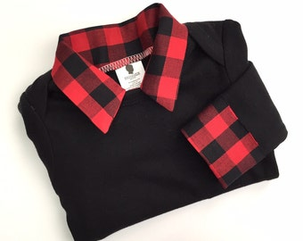 Lumberjack First Birthday Shirt - Lumberjack Birthday Outfit - Baby Boy First Birthday Shirt - Buffalo Plaid Baby Shirt - Cake Smash Shirt