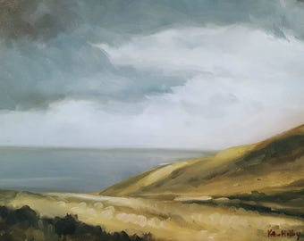 Cloudy Autumn Day on the Ireland Coast- Rolling Hills by the Sea- Original Landscape Oil Painting- Gray Sky Field Ocean Art- Irish Shore