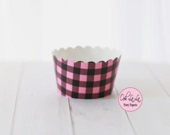 MADE TO ORDER Pink and Black Buffalo Plaid/Check Cupcake Wrappers/Lumberjill- Set of 12