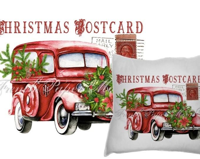 Digital Watercolor Christmas Truck, Red Retro Car, Vintage Auto, Xmas Wreath, Christmas Pillow Transfer Image