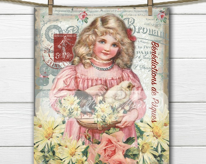 Shabby Digital Victorian Easter, Victorian Girl and Chicks, French Graphics, Roses, Easter Pillow Image Transfer