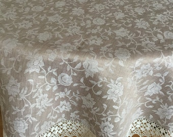 Tablecloth Round Linen Tablecloth Linen Lace Jacquard Beige 70 inches Floral Fabric Reversible