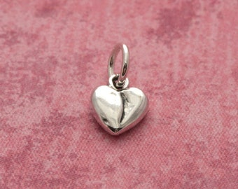 Tiny Sterling Silver Heart Charm – Sterling Heart Charm – Sterling Silver Heart Jewelry – Tiny Bracelet Charm – Tiny Sterling Silver Charm