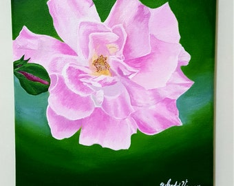 Bloom-8x10 Pink Rose Original Acrylic Painting on canvas