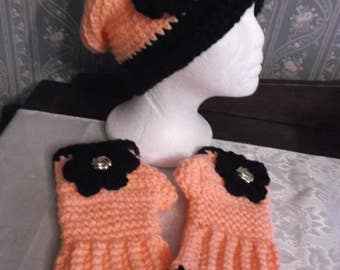 Pretty Coral/Black Handmade Knitted/Crochet Slouch Hat And Fingerless Gloves