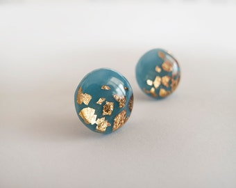 Sky Blue Gold Round Stud Earrings - Hypoallergenic Titanium Posts