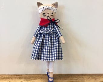 Cat doll- Kitten doll- Kitty-Linen doll-zakka